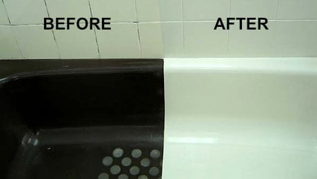 Allwest Refinishing Calgary - A refinished tub before and after
